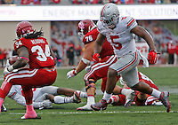 Ohio State Buckeyes linebacker Raekwon McMillan (5) closes in on Indiana Hoosiers running back Devine Redding (34) in the first half of the Ohio State Buckeyes against the Indiana Hoosier at Memorial Stadium in Bloomington Indiana Oct. 3, 2015.(Dispatch photo by Eric Albrecht)