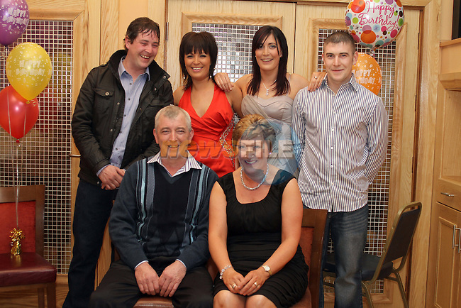 Cathleen Flynn with her husband Marty and children, Darren, Tracey, Emma and Phillip at her Party in The Thatch...(Photo credit should read Jenny Matthews www.newsfile.ie)....This Picture has been sent you under the conditions enclosed by:.Newsfile Ltd..The Studio,.Millmount Abbey,.Drogheda,.Co Meath..Ireland..Tel: +353(0)41-9871240.Fax: +353(0)41-9871260.GSM: +353(0)86-2500958.email: pictures@newsfile.ie.www.newsfile.ie.