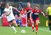 Boyds, MD - Saturday May 07, 2016: Portland Thorns FC defender Katherine Reynolds (2) chases after Washington Spirit midfielder Estefania Banini (10) during a regular season National Women's Soccer League (NWSL) match at Maureen Hendricks Field, Maryland SoccerPlex. Washington Spirit tied the Portland Thorns 0-0.
