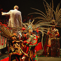 The Aztec Dancers perform with the UW Marching Band, led by band director Michael Leckrone, on Thursday at the Kohl Center in Madison, Wisconsin on 4/19/07