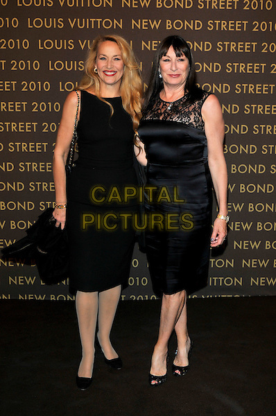 JERRY HALL & ANJELICA HUSTON .attends the launch of the Louis Vuitton Bond Street Maison in London, England, UK, May 25th, 2010..full length black sleeveless dress lace shift peep toe shoes patent .CAP/PL.©Phil Loftus/Capital Pictures.