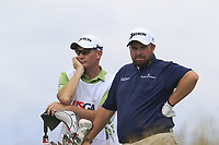 Shane Lowry (IRL) and caddy Dermot Byrne on the 6th tee during Saturday's Round 3 of the 117th U.S. Open Championship 2017 held at Erin Hills, Erin, Wisconsin, USA. 17th June 2017.<br /> Picture: Eoin Clarke | Golffile<br /> <br /> <br /> All photos usage must carry mandatory copyright credit (&copy; Golffile | Eoin Clarke)