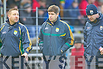 Kerry manager Eamon Fitzmaurice with Trainer Cian O'Neill Selector Diarmuid Murphy at their round Two of the National Football league game against Derry at Fitzgerald Stadium, Killarney on Sunday the 9th of February.