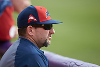 NJIT Highlanders head coach Brian Guiliana looks on from the dugout during game one of a double-header against the High Point Panthers at Williard Stadium on February 18, 2017 in High Point, North Carolina.  The Panthers defeated the Highlanders 11-0.  (Brian Westerholt/Four Seam Images)