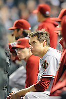 25 MAY 2010: Arizona Diamondbacks second baseman Kelly Johnson and his teammates watch the bottom of the 9th inning from the bench during a regular season Major League Baseball game between the Colorado Rockies and the Arizona Diamondbacks at Coors Field in Denver, Colorado. The Rockies beat the Diamondbacks 3-2. *****For Editorial Use Only*****