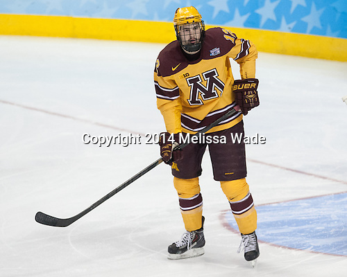 Justin Holl (MN - 12) - The University of Minnesota Golden Gophers defeated the University of North Dakota 2-1 on Thursday, April 10, 2014, at the Wells Fargo Center in Philadelphia to advance to the Frozen Four final.