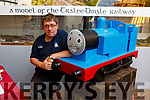 Brendan O'Brien with the Thomas the Tank Engine model replica made of wood and the wood was sponsored by Boyles Hardware in Clash and it was made by Tim O'Connell and all the Students in the Early Learning Centre in Clash.