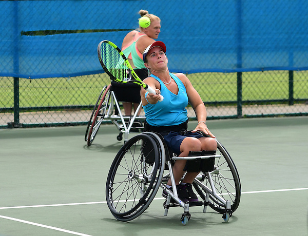 Lucy Shuker (GBR) and doubles partner Jordanne Whiley (GBR) in action during the British Open UNIQLO Wheelchair Tennis Tour at Nottingham Tennis Centre.<br /> <br /> Picture: Chris Vaughan/James Jordan Photography/Tennis Foundation<br /> Date: July 27, 2016