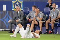 CARSON, CA - SEPTEMBER 15: Sporting Kansas City's head coach Peter Vermes and the Sporting Kansas City bench during a game between Sporting Kansas City and Los Angeles Galaxy at Dignity Health Sports Complex on September 15, 2019 in Carson, California.