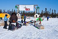 Sonny Lindner arrives at the Cripple checkpoint, halfway point, Interior Alaska