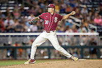 Florida State Seminoles pitcher Antonio Velez (30) delivers a pitch to the plate during Game 9 of the NCAA College World Series against the Texas Tech Red Raiders on June 19, 2019 at TD Ameritrade Park in Omaha, Nebraska. Texas Tech defeated Florida State State 4-1. (Andrew Woolley/Four Seam Images)