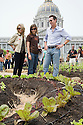 "San Francisco Mayor Gavin Newsom (R) and Jennifer Siebel (L), fiancee, take a tour with Slow Food Nation's Naomi Starkman (middle) at Community Planting Day (July 12, 2008) of the Slow Food Nation Victory Garden at San Francisco's Civic Center. The garden project ""demonstrates the potential of a truly local agriculture practice that unites and promotes Bay Area urban gardening organizations, while producing high quality food for those in need.""* The garden is planted on the same site as the post-World War II garden sixty years ago. The food will be grown over a period of two months, harvested, and donated to people in need..*slowfoodnation.org"