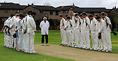 Scottish National Cricket League, Premier Div - the first full ficture crad matches of the SNCL began across Scotland with a minutes silence for recent Cricket Scotland President Mahindra Patel, who passed away on Thursday - here Dunfermline (left, last years Div 1 Champions) stand with Aberdeenshire (last years Prem Div Champions), and Umpire Brian Anderson in memorial - Picture by Donald MacLeod 25.04.10 - mobile 07702 319 738