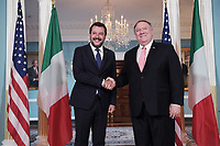 Washington, DC - June 17, 2019: U.S. Secretary of State Mike Pompeo meets with Italian Deputy Prime Minister Matteo Salvini at the State Department in Washington D.C. June 17, 2019.  (Photo by Lenin Nolly/Media Images International)