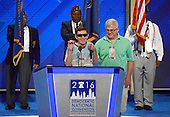 Timmy Kelly, 23, of Philadelphia, Pennsylvania who was born blind and with cerebral palsy, rehearses the National Anthem which he will sing to open the second day of the 2016 Democratic National Convention held at the Wells Fargo Center in Philadelphia, Pennsylvania on Tuesday, July 26, 2016. Timmy, a senior music major at Temple University is known as the Eagles' &quot;good luck charm&quot; because of their win record when he sings before their games.<br /> Credit: Ron Sachs / CNP<br /> (RESTRICTION: NO New York or New Jersey Newspapers or newspapers within a 75 mile radius of New York City)