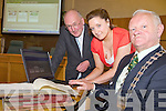 HISTORY: Launching the new website of over 70,000 burial records from around Kerry on Thursday, l-r: John O'Connor (Kerry County Council), Carmel O'Connor-Galvin (Project Manager), Mayor Kerry Cllr Tim Buckley.