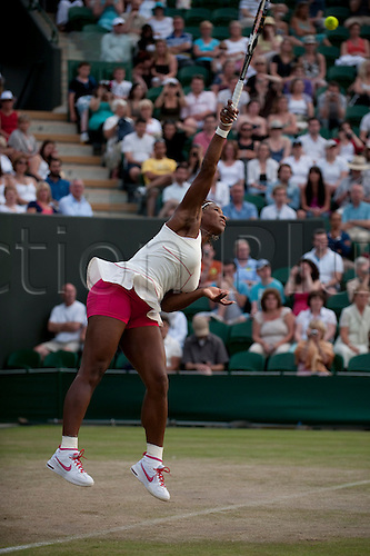 June 24th 2010: Wimbledon International Tennis Tournament held at the All England Lawn Tennis Club, London, England, Serena Williams of USA playing Anna Chakvetadze of RUS