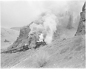 C&amp;TS #487 &amp; #483 climbing west slope of Cumbres Pass with the daily excursion train.<br /> C&amp;TS  w. of Cumbres, CO  1974