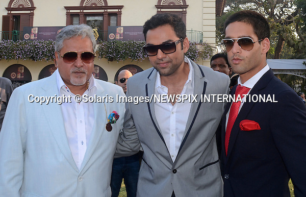 """Mumbai, India-05/02/2012: VIJAY MALLYA AND SON SIDDHARTH AT THE SIGNATURE PREMIUM INDIAN DERBY.Vijay Mallya owner of Force India F1 team and Director of United Breweries and son Siddharth Mallya(Director of Royal Challengers Bangalore IPL Team and United Breweries), with Bollywood actor Abhay Deolat the Royal Western India Turf Club,Mumbai..In The Spotlight ridden by Martin Dwyer stamped her class on India's premier Classic, routing a high-class field by upwards of seven lengths...Mandatory Photo Credit: ©Vipin Pawar-SolarisImages/NEWSPIX INTERNATIONAL..**ALL FEES PAYABLE TO: """"NEWSPIX INTERNATIONAL""""**..PHOTO CREDIT MANDATORY!!: NEWSPIX INTERNATIONAL(Failure to credit will incur a surcharge of 100% of reproduction fees)..IMMEDIATE CONFIRMATION OF USAGE REQUIRED:.Newspix International, 31 Chinnery Hill, Bishop's Stortford, ENGLAND CM23 3PS.Tel:+441279 324672  ; Fax: +441279656877.Mobile:  0777568 1153.e-mail: info@newspixinternational.co.uk"""