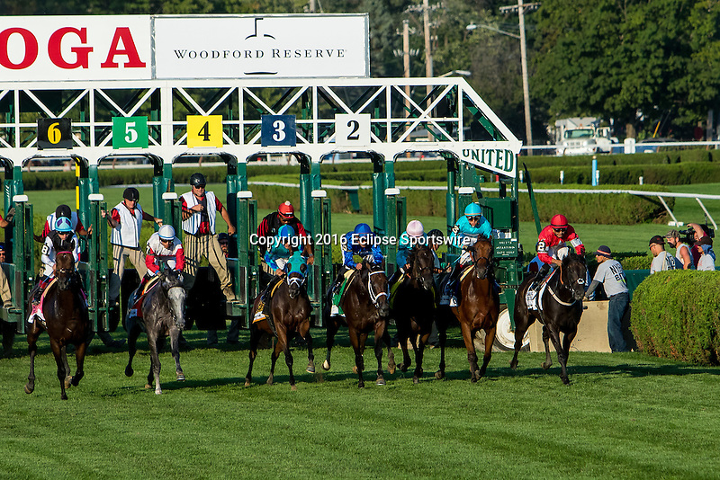 SARATOGA SPRINGS - AUGUST 27: The field exits the starting gate at the start of the Woodford Reserve Ballston Spa Stakes on Travers Stakes Day at Saratoga Race Course on August 27, 2016 in Saratoga Springs, New York. Anaximandros #6, ridden by Leonel Reyes, won the race. (Photo by Sue Kawczynski/Eclipse Sportswire/Getty Images)