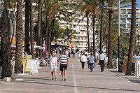 Spain, Marbella, paseo maritimo, promenade, November, 2015, 201511131815. It is possible to walk along the shore from Marbella to Puerta Banus, and even on to San Pedro de Alcantara with the exception of a few easily negotiated short stretches. <br />