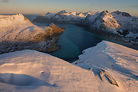 Winter view over Flakstadpollen from summit of Kollfjellet, Flakstadøy, Lofoten Islands, Norway, Flakstadpollen, Kollfjellet
