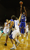 Ernest Scott shoots during the NBL Round 14 basketball match between the Wellington Saints and Auckland Stars at TSB Bank Arena, Wellington, New Zealand on Thursday 29 May 2008. Photo: Dave Lintott / lintottphoto.co.nz