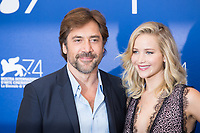 Jennifer Lawrence, Javier Bardem at the &quot;Mother!&quot; photocall, 74th Venice Film Festival in Italy on 5 September 2017.<br /> <br /> Photo: Kristina Afanasyeva/Featureflash/SilverHub<br /> 0208 004 5359<br /> sales@silverhubmedia.com
