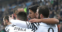 Calcio, Serie A: Sassuolo vs Juventus. Reggio Emilia, Mapei Stadium, 29 gennaio 2017. <br /> Juventus&rsquo; Gonzalo Higuain, right, celebrates with teammates, from left, Leonardo Bonucci, Paulo Dybala and Sami Khedira, after scoring during the Italian Serie A football match between Sassuolo and Juventus at Reggio Emilia's Mapei stadium, 29 January 2017.<br /> UPDATE IMAGES PRESS/Isabella Bonotto