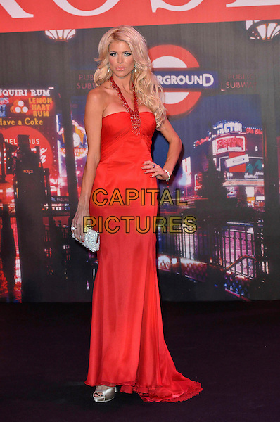 Victoria Silvstedt.Rose Ball 2012 - Swinging London, Monte Carlo Bay Hotel, Monte Carlo, 24th March 2012..full length red dress halterneck hand on hip .CAP/PPG.©People Picture/Capital Pictures
