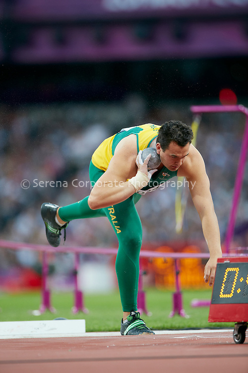 Australia's Todd Hodgetts competes in the men's F20 shot put, winning bronze in the event..London Paralympic Games - Athletics 7.9.12