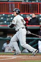 Akron RubberDucks first baseman Bryan LaHair (16) at bat during a game against the Erie SeaWolves on May 17, 2014 at Jerry Uht Park in Erie, Pennsylvania.  Erie defeated Akron 2-1.  (Mike Janes/Four Seam Images)