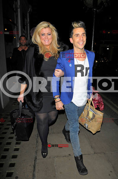 """NON EXCLUSIVE PICTURE: MATRIXPICTURES.CO.UK.PLEASE CREDIT ALL USES..WORLD RIGHTS..""""The Only Way Is Essex"""" reality TV star Gemma Collins is pictured arriving at London's Groucho Club with her friend, English comedian Russell Kane...NOVEMBER 8th 2012..REF: AHT 125160"""