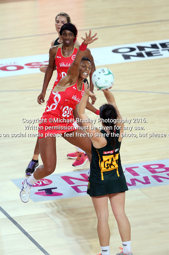 04.09.2016 England's Stacey Francis and South Africa's Renske Steyn in action during the Netball Quad Series match between England and South Africa played at Margaret Court Arena in Melbourne. Mandatory Photo Credit ©Michael Bradley.