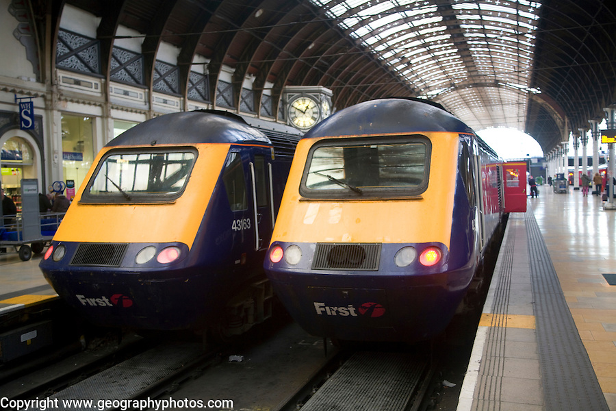 Two First diesel locomotive trains, Paddington railway station, London, England