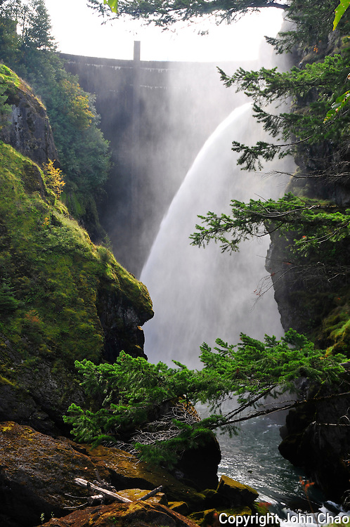 View of the face of Glines Canyon Dam on the Elwha River, Olympic National Park, Washington State. Also called the upper Elwha River Dam.