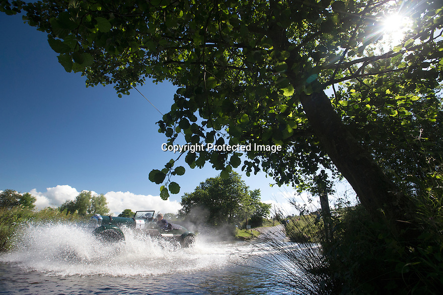 14/06/16<br /> <br /> John Abel and Iain Tullie in their 1937 Lagonda LG45.<br /> <br /> Competitors in the Royal Automobile Club 1000 Mile Trial splash through Tissington Ford near Ashbourne in the Derbyshire Peak District. The rally saw 43 pre-war cars leave Edinburgh on Monday and finishes in Dorking, Surrey on Saturday.<br /> All Rights Reserved, F Stop Press Ltd.
