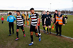 Wilson Kneeshaw and Romal Palmer of Darlington leave the pitch followed by Referee Aaron Bannister. Darlington 1883 v Southport, National League North, 16th February 2019. The reborn Darlington 1883 share a ground with the town's Rugby Union club. <br /> After several years of relegations, bankruptcies, and ground moves, the club is fan owned, and back on an even keel in the National League North.<br /> A 0-0 draw with Southport was marred by a broken leg and dislocated knee suffered by Sam Muggleton, Darlington's on loan left back.<br /> Both teams finished the season in lower mid table.