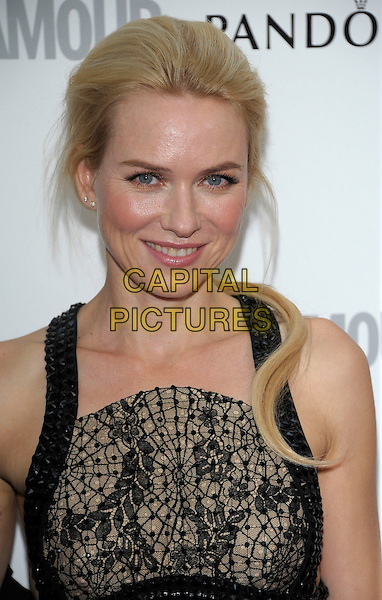 Naomi Watts.Women Of The Year 2012 - Glamour Awards, Berkeley Square, London, England..29th May 2012.headshot portrait black brown print lace .CAP/PL.©Phil Loftus/Capital Pictures.