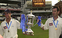 Photo Peter Spurrier.31/08/2002.Cheltenham & Gloucester Trophy Final - Lords.Somerset C.C vs YorkshireC.C..Yorkshire  Micheal Vaughan left and  Matt Elliott