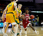 SIOUX FALLS, SD - MARCH 7: Ade Murkey #0 of the Denver Pioneers drives to the basket against Sam Griesel #5 of the North Dakota State Bison at the 2020 Summit League Basketball Championship in Sioux Falls, SD. (Photo by Richard Carlson/Inertia)