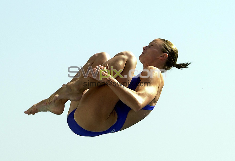 Pix: Matthew Lewis/SWpix.com. Diving. 10th Fina World Championships 2003, Barcelona. 18/07/2003...COPYRIGHT PICTURE>>SIMON WILKINSON>>01943 436649>>..Great Britain's Jane Smith competes in the Womens 3m Springboard Preliminary's.