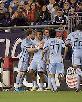 Colorado Rapids midfielder Pablo Mastroeni (25) celebrates game winning goal with teammates. The Colorado Rapids defeated the New England Revolution, 2-1, at Gillette Stadium on April 24, 2010.