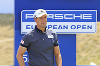 Jonas Kolbing (GER) on the 18th tee during Saturday's Round 3 of the Porsche European Open 2018 held at Green Eagle Golf Courses, Hamburg Germany. 28th July 2018.<br /> Picture: Eoin Clarke | Golffile<br /> <br /> <br /> All photos usage must carry mandatory copyright credit (&copy; Golffile | Eoin Clarke)