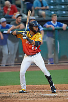 Jo Adell (26) of the Salt Lake Bees at bat against the Oklahoma City Dodgers at Smith's Ballpark on August 1, 2019 in Salt Lake City, Utah. The Bees defeated the Dodgers 14-4. (Stephen Smith/Four Seam Images)
