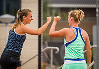 Amstelveen, Netherlands, 1 August 2020, NTC, National Tennis Center, National Tennis Championships, Women's double final:  Quirine Lemoine (NED) (L) and Richel Hogenkamp (NED)<br /> Photo: Henk Koster/tennisimages.com