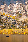Fishing on Convict Lake during the fall, Eastern Sierra, California.
