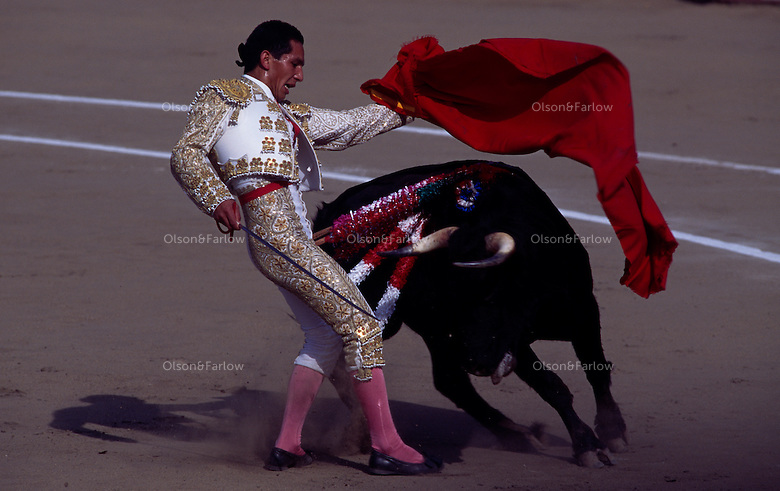A Spanish costumed matador narrowly escapes a bull in the historic Plaza de Acho ring in LIma.  Tradition is to fight to the death. The October Festival of Bullfighting is to honor the Lord of Miracles.