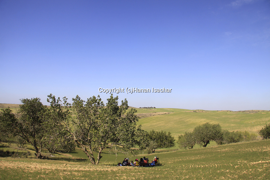Israel, Northern Negev, a picnic at Bitronot Ruhama in Besor region