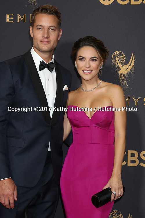 LOS ANGELES - SEP 17:  Justin Hartley, Chrishell Stause at the 69th Primetime Emmy Awards - Arrivals at the Microsoft Theater on September 17, 2017 in Los Angeles, CA